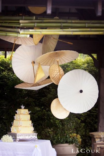 Paper parasols used as hanging backdrop for wedding cake