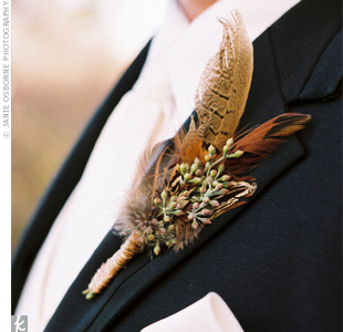 Masculine Boutonieer with Feathers and Eucalyptus