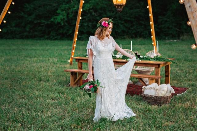 Boho Wedding at Green Door Gourmet Greenery Flower Crown