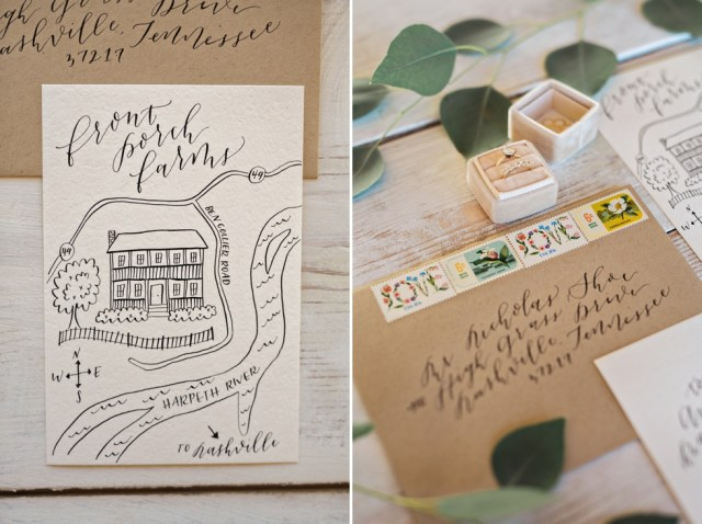 Invitation Suite with Hand drawn wedding map