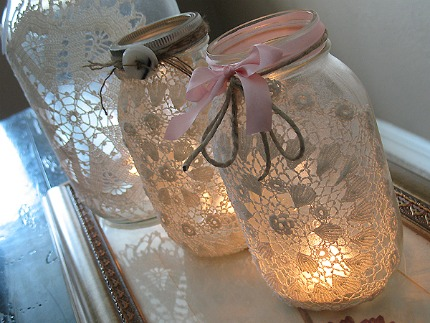 Burlap and Doily Luminaries