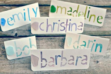 Sea Glass Name Cards via Intimate Weddings