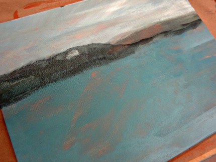 Michael's Painting Class Seascape in Progress