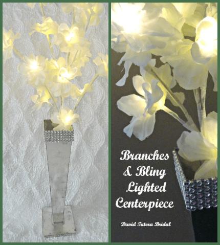 Branches & Bling LIghted Centerpiece via weddings.craftgossip.com