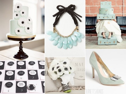 Black & Mint Wedding Inspiration via Burnett's Boards