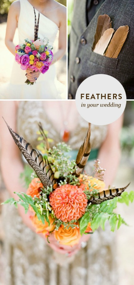 Feather Wedding Inspiration via At Home in Love