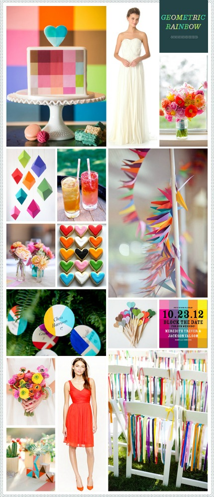 Geometric Rainbow Wedding via Revel Blog