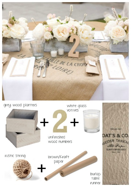 Burlap & Blush Tablescape via Southbound Bride & Photos by Tonya Peterson Photography