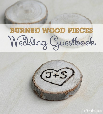 Burned Wood Wedding Guest Book via club.chicacircle.com