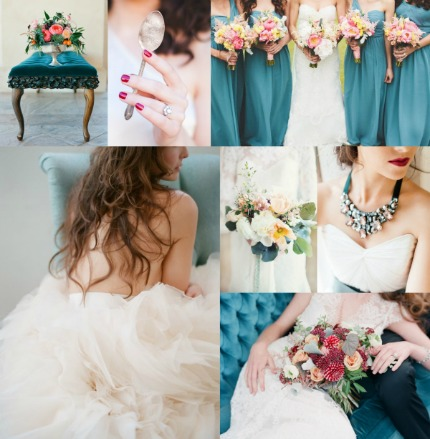 Teal and Berry Wedding Inspiration via Elizabeth Anne Designs