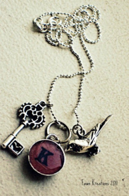 DIY Monogram Pendant and Charm Necklace via Fawn Kreations