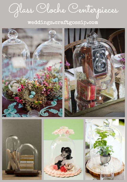 Glass Cloche Centerpieces via weddings.craftgossip.com