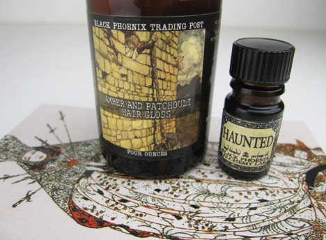 BPALamber BPAL Haunted oil and Amber & Patchouli Hair Gloss   review