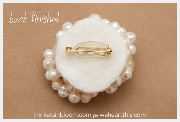 twisted pearl brooch back finished DIY Jewelry: Twisted Pearl Brooch