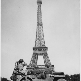 Soldiers in Front of the Eiffel Tower
