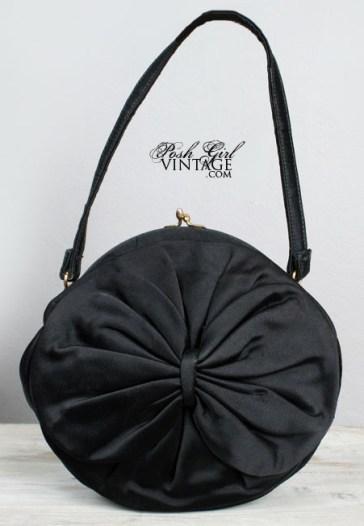 Vintage 1950s black satin handbag
