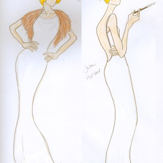 Fashion sketch: 1930s dress design for Jean Harlow