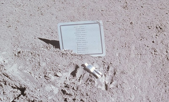 Commemorative plaque on the moon