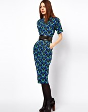 Wiggle Dress In Coloured Wallpaper Print by ASOS