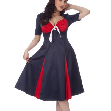 Kitty Navy Pinstriped Sailor Swing Dress