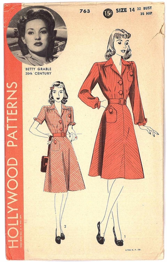 1940s Hollywood sewing patterns: Betty Grable