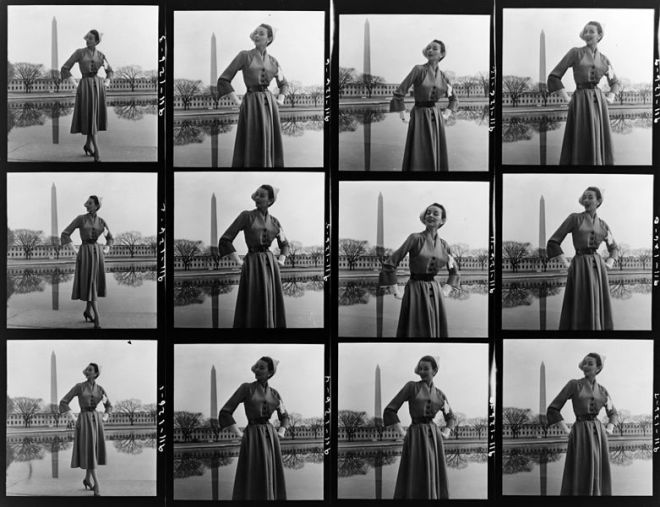 Contact sheet from a 1940s fashion shoot
