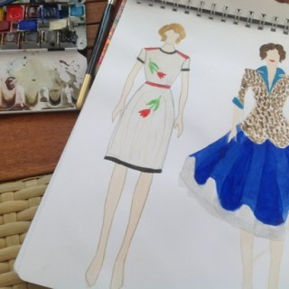 Fashion sketch: 1930s vs 1950s
