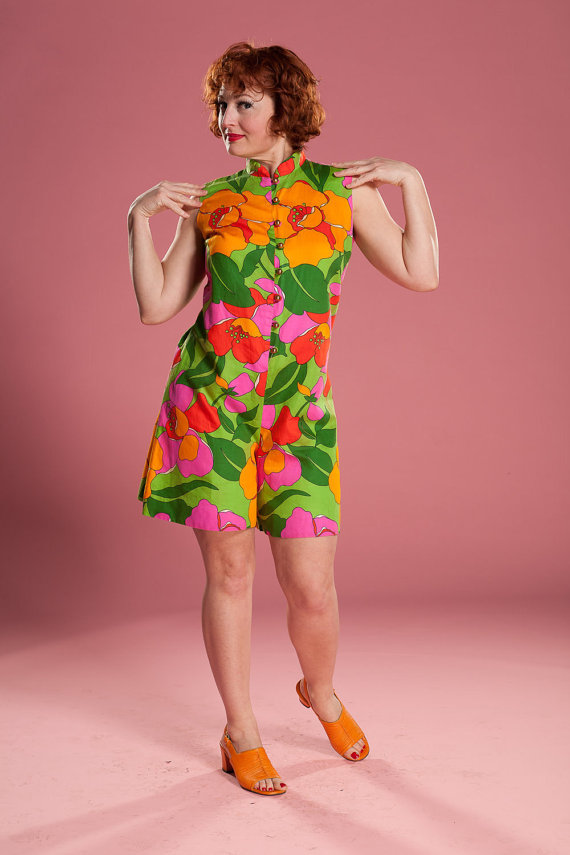 Bright & colourful vintage 1960s playsuit
