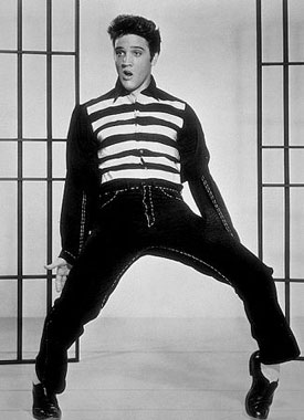 Elvis Presley in Jailhouse Rock  A series of promotional photos of Elvis Presley from the movie Jailhouse Rock. You can see why he drove the girls so crazy can't you (except for the photo where he looks drunk - I'm surprised that one made it through!)  [ photos]  Elvis Presley in Jailhouse Rock