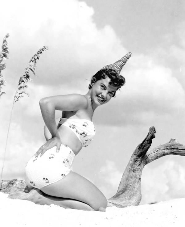 A cherry-print 1950s bikini