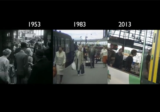 Timelapse train journey 1950s