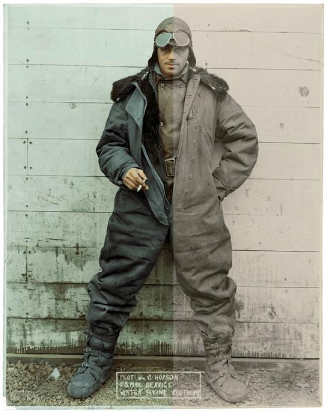 1920s pilot in winter flying gear
