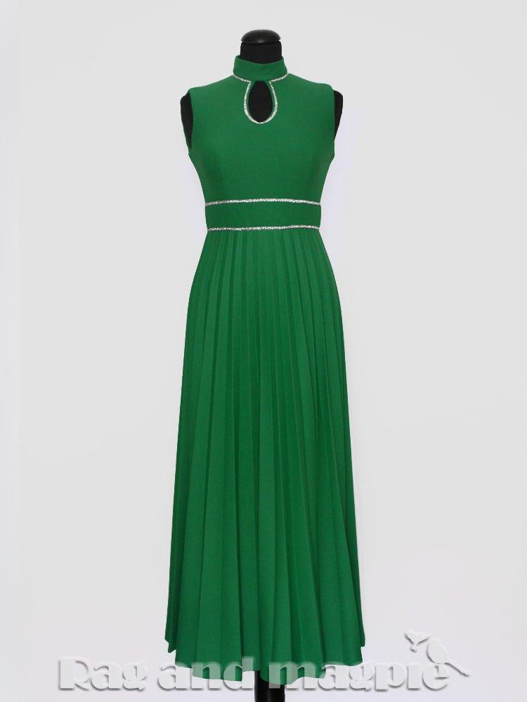 1970s Green Pleated Keyhole Maxi Dress