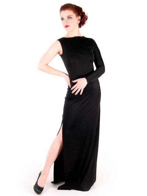 Vintage One- Shoulder Gown Black Silk Knit Rudi Gernreich 1970s