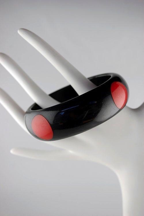Black & red inlaid polka dots Bakelite bangle
