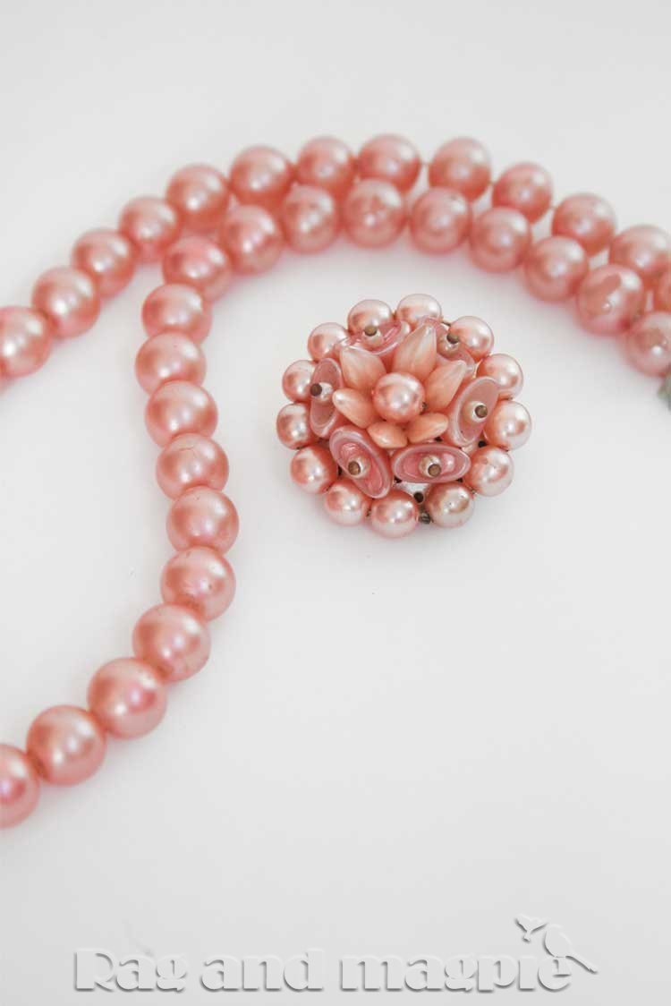 1950s Pink Faux Pearl Cluster Necklace & Brooch Set
