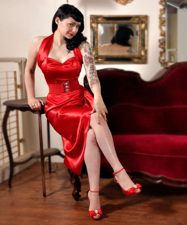 Red Sarong Dress in Satin