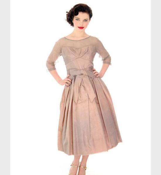 1950s Vintage Party Dress Silk Organza in Mauve Ferman O'Grady