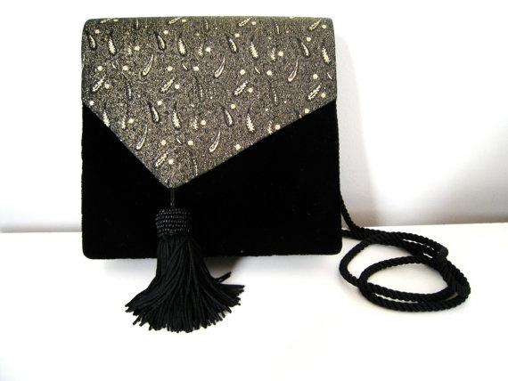Vintage Evening Bag - Black Velvet Envelope Purse with Gold Brocade and Tassel