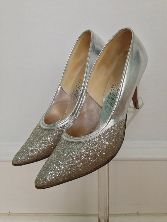 1950s Silver Glitter Shoes