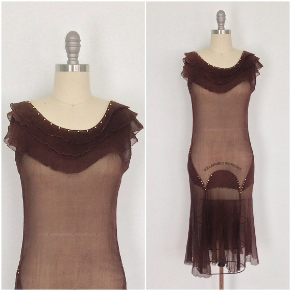 Vintage 1920s chiffon flapper dress