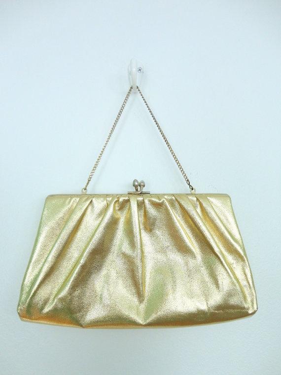 Vintage Gold Purse / 1960s Formal Handbag