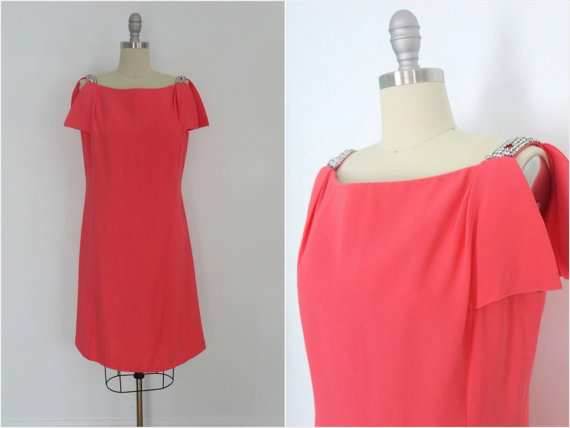 1960s Dress / Coral Pink / Rhinestones / Sheath Cocktail Party Dress / Helen Wolff Five Thirty PM