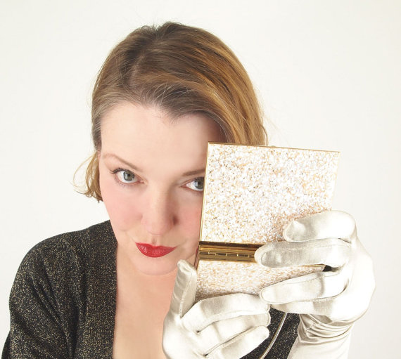 50s Golden Glitter Double Sided Compact Clutch Bag