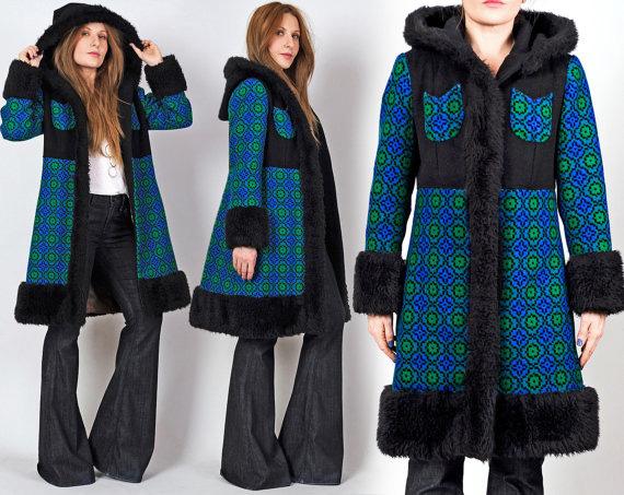 vintage 60s 70s TAPESTRY Hooded faux fur Coat