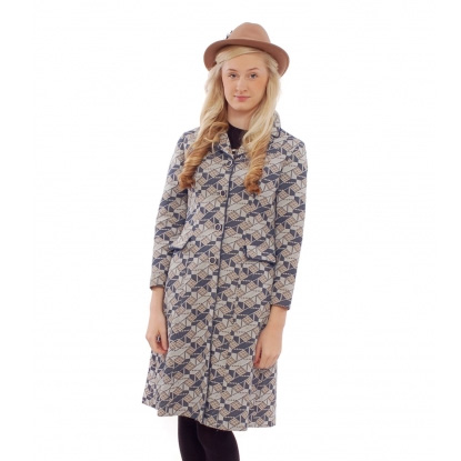 Abstract Crimplene Coat