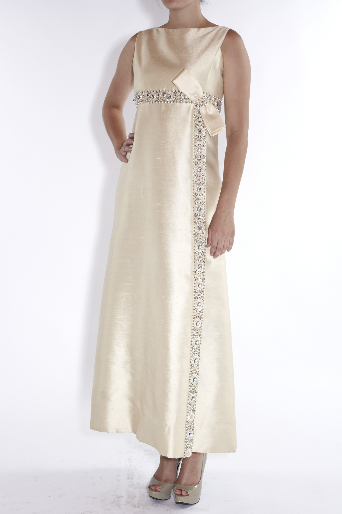 1960s Ivory Silk Beaded Empire Bow Gown