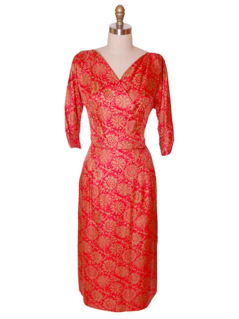 Vintage Red & Gold Print SIlk Dress R&K Original 1950s