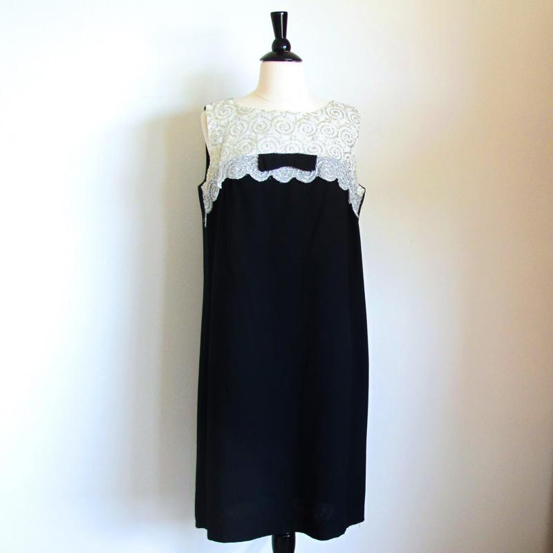 60s Mod Shift, Black Evening Dress, 1960 Party Dress