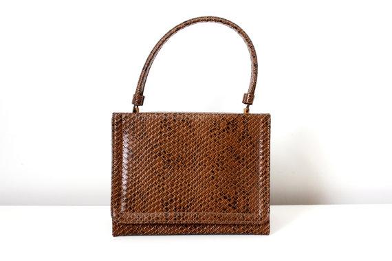 Vintage 1950s 60s Box Purse Faux Small Snakeskin Handbag